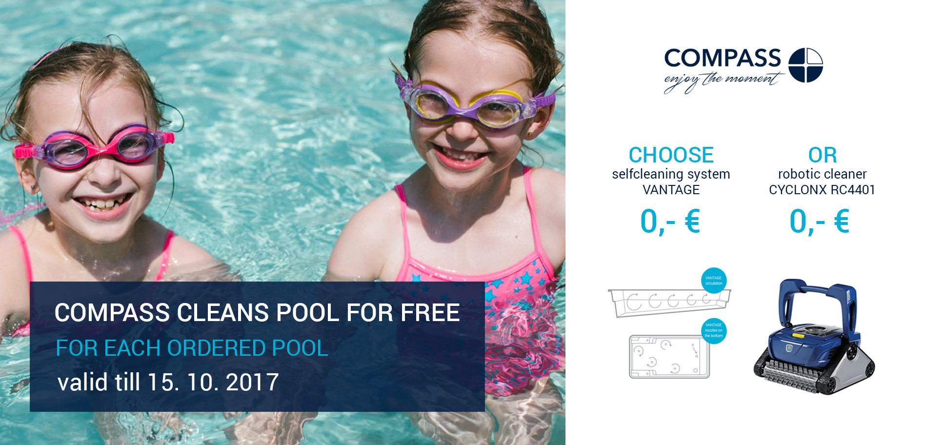 COMPASS CLEANS POOL FOR FREE
